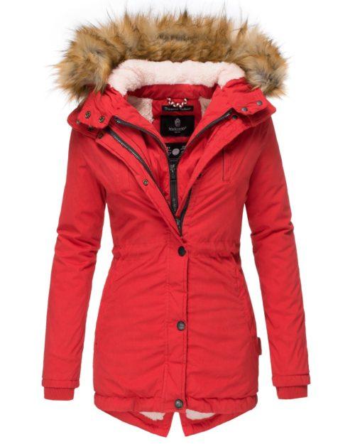 AKIRA Damen Mantel Jacke Parka Winterjacke Red