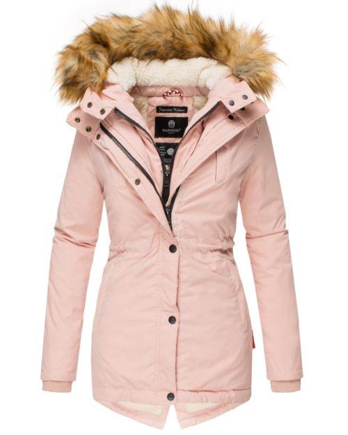 AKIRA Damen Mantel Jacke Parka Winterjacke Rosa