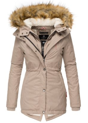 AKIRA Damen Mantel Jacke Parka Winterjacke Taupe