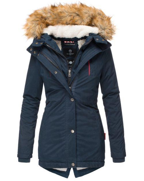 AKIRA Damen Mantel Jacke Parka Winterjacke Blue